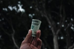 Rolled-up dollar bill