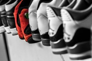 A line of sneakers