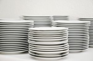 Stacks of plates.