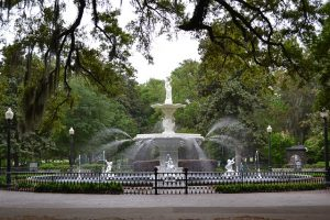 Fountain in a park in Historic Downtown - one of the best neighborhoods in Savannah