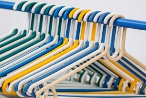 Use hangers like these to pack hanging clothes for moving