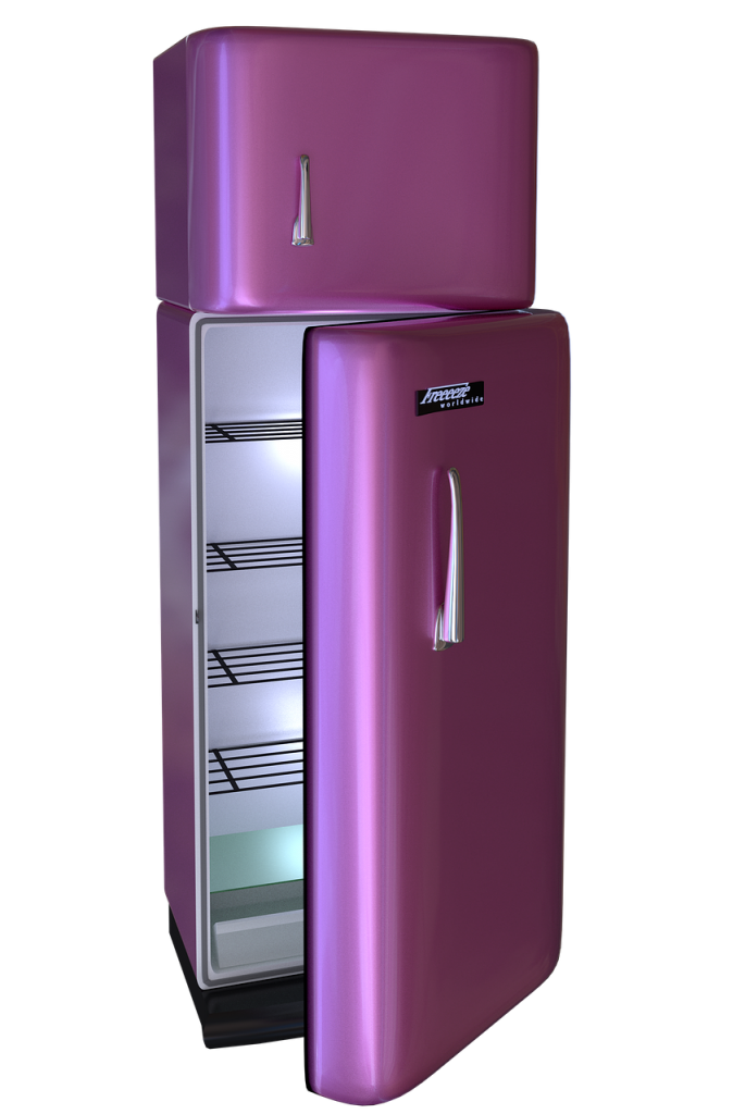 A purple refriderator - the first item to pack when packing your kitchen