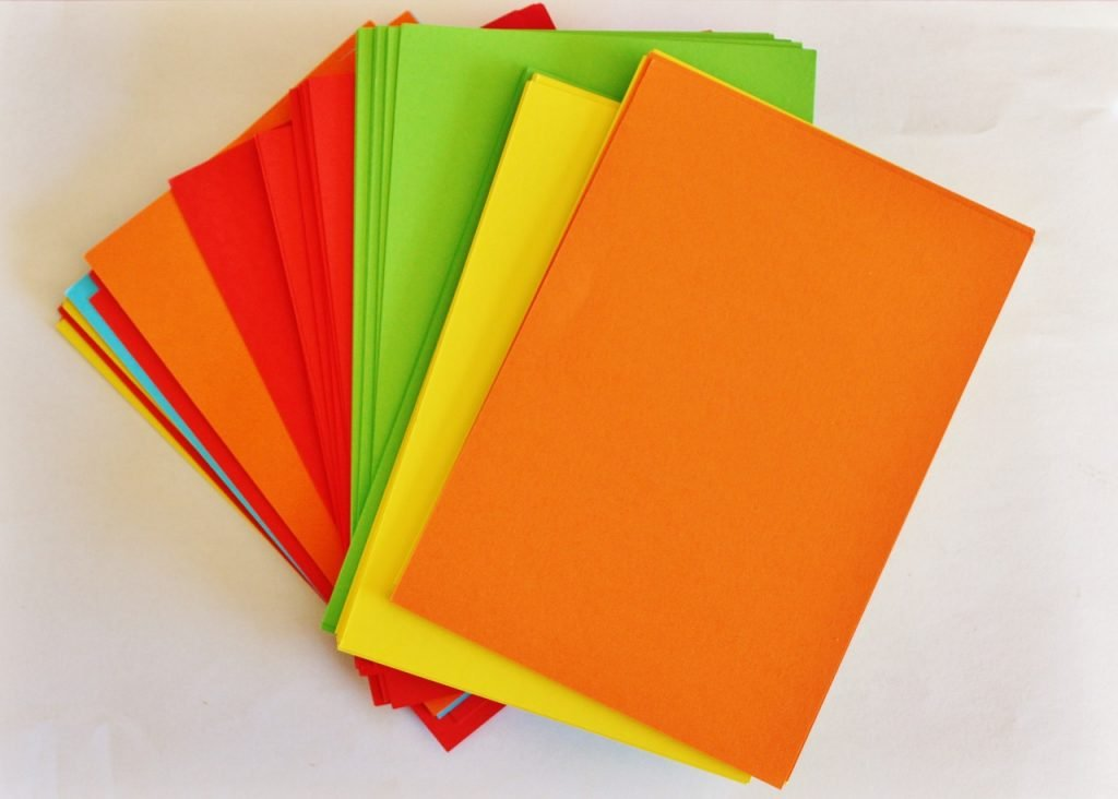 Different colored papers - blue, green, yellow, orange and red