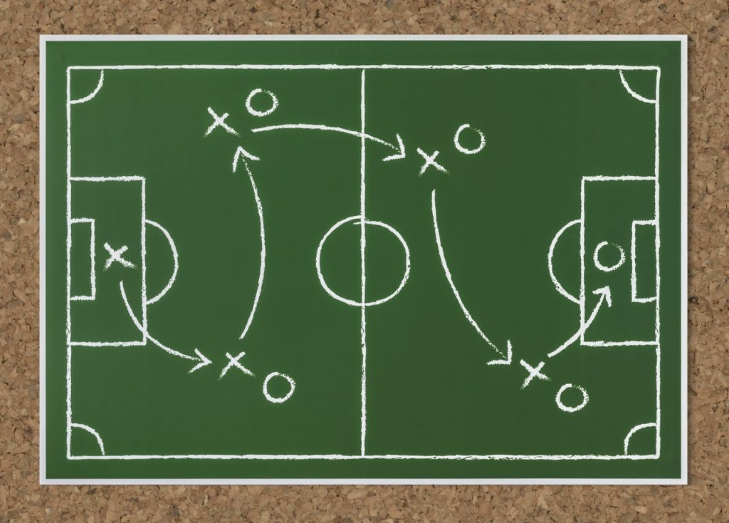 A drawing of a soccer field and a plan for scoring