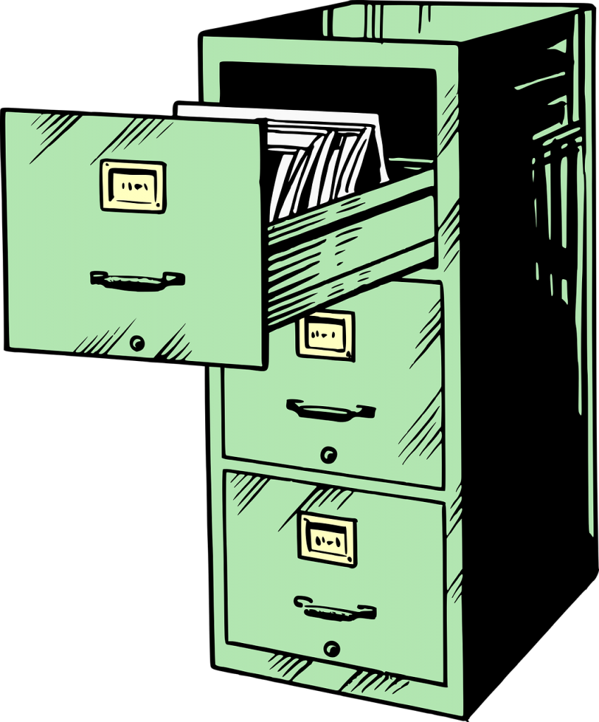 A drawing of a filing cabinet with three drawers