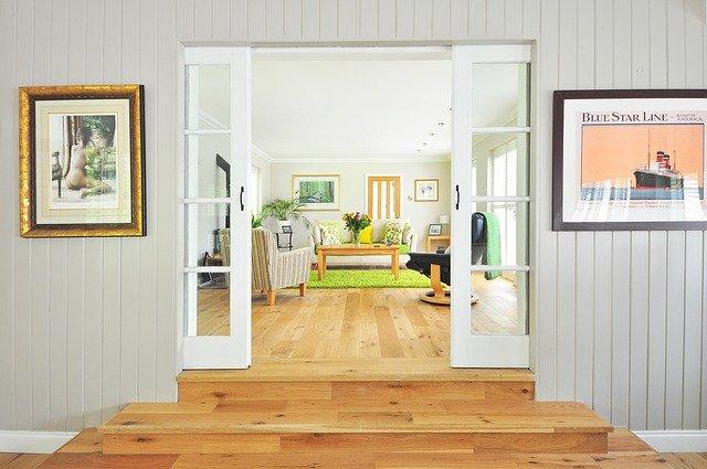 Living room with hardwood floor.