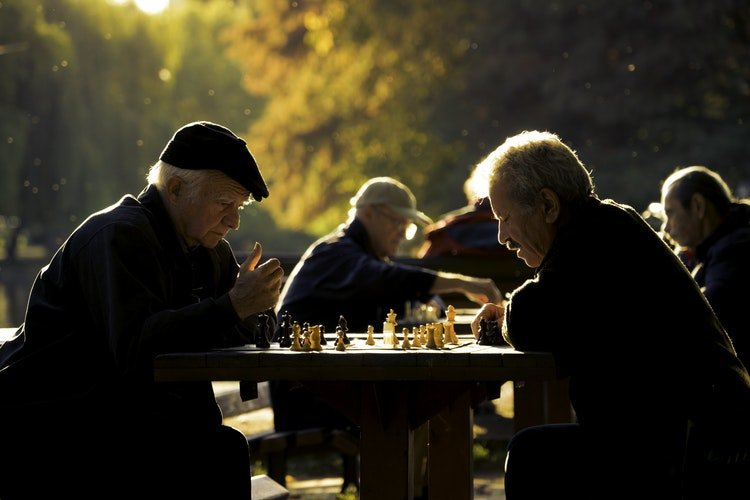 Having activities after moving for retirement is important thing - such as these seniors playing chess in a park.