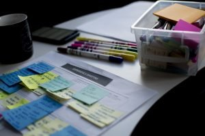 Label the important moving documents with sticky notes