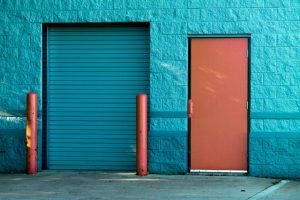 Blue door of a storage unit.