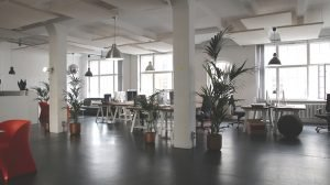 A nice looking, modern, open space office