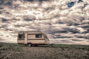 A caravan and dramatic weather