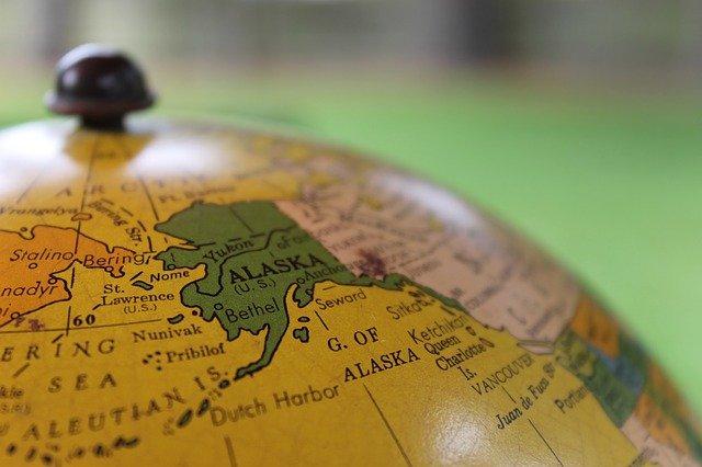 Alaska on a globe.