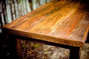A table with scratches