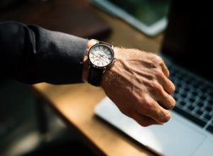 Man's hand with a watch