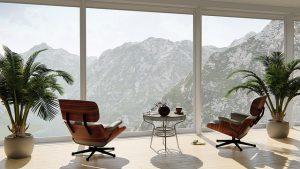 Living room, big windows, chairs, table and plants