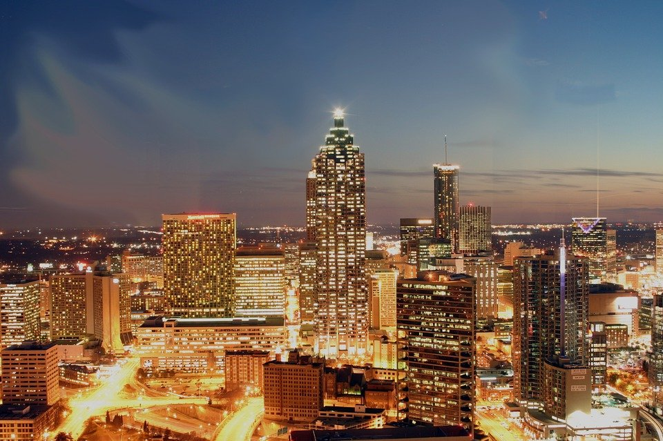 Atlanta skyline at night.