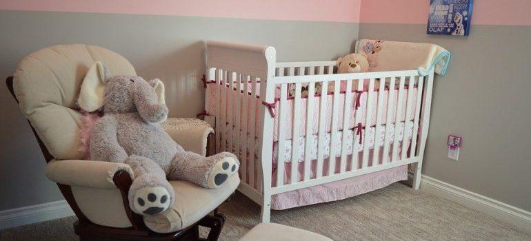 A pink nursery.