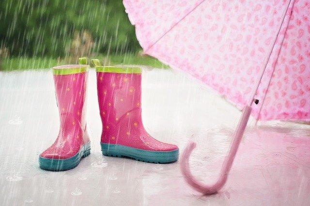 rain boots and an umbrella