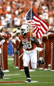NFL player with a flag