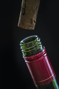 Opened bottle of wine