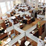 an office space with cubicles