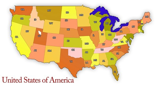 USA map including top inbound states for relocation