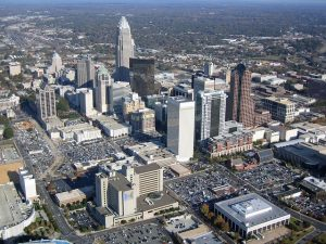 Charlotte aerial view. This city is a good option when moving from Columbia SC to NC