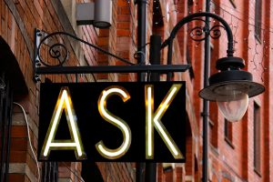 A sign saying ask