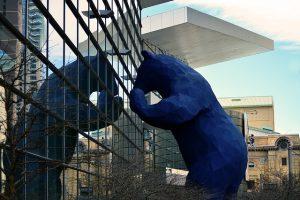 Blue bear statue in Denver