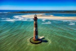 Morris Island beach with lighthouse