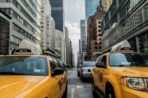Taxi in traffic in NYC