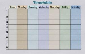 A timetable sheet