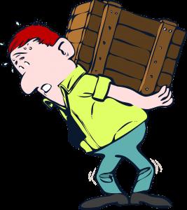 cartoon man lifting heavy box