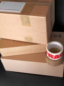 Cardboard boxes and packing tape