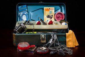 fishing equipment in a box