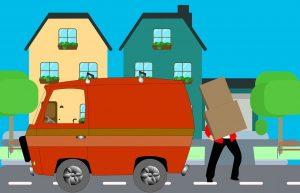 a cartoon man loading his van