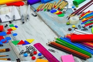 Various office supplies in vivid colors