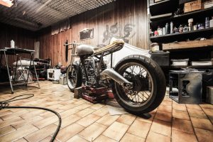 a motorcycle in the garage