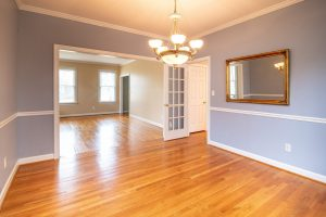 an empty house with no furniture in it, just purple walls