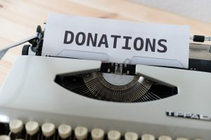 paper that says donations