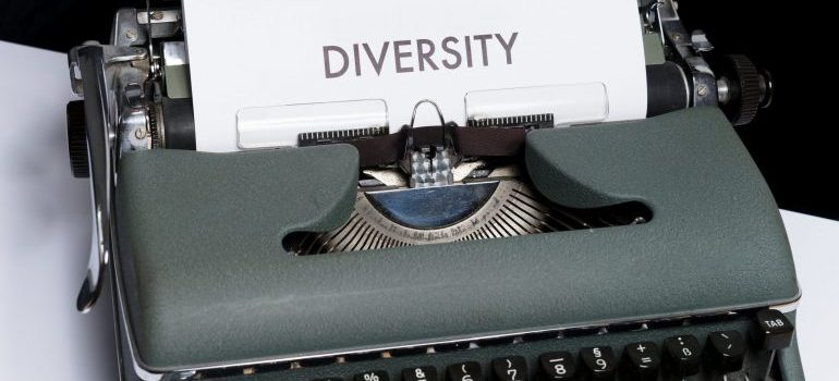 diversity written on a piece of paper placed in a typing machine