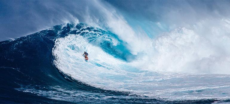 Surfer on Hawaii sea
