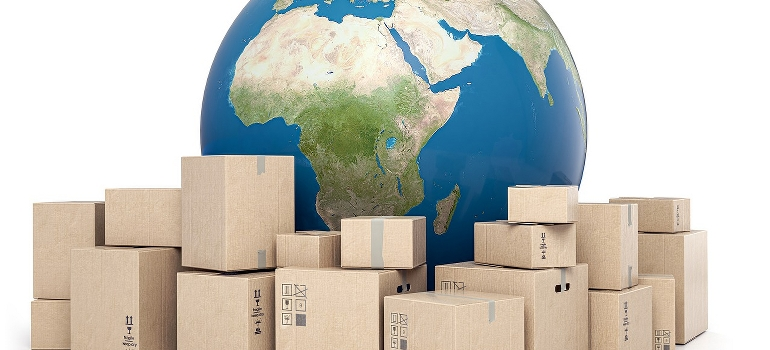 An illustration of a planet earth and pile of moving boxes