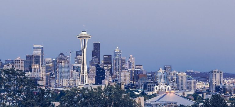 the city of Seattle spreading over the horizon