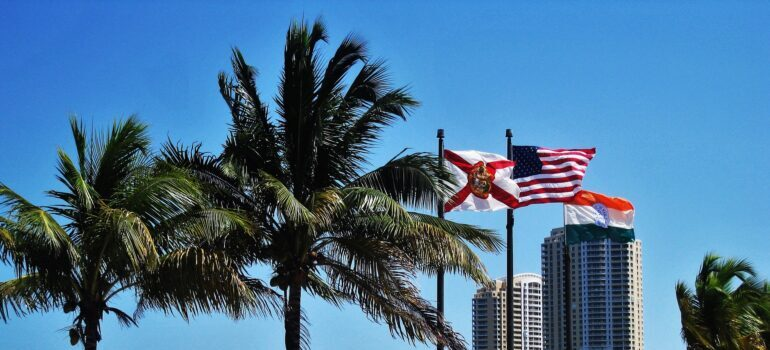 Florida and USA flag side by side in Miami