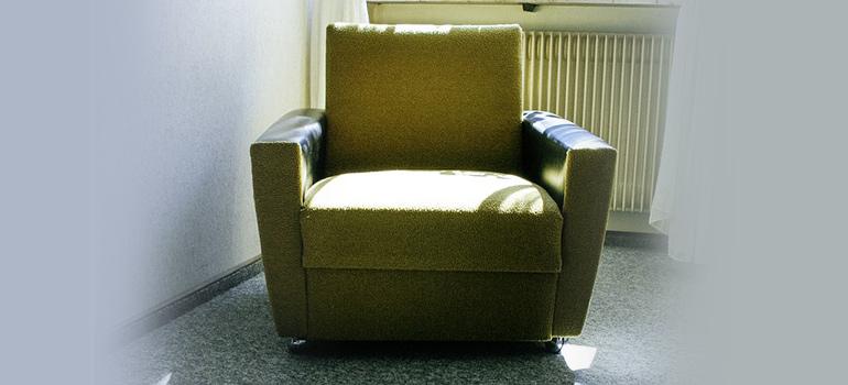 an old green armchair
