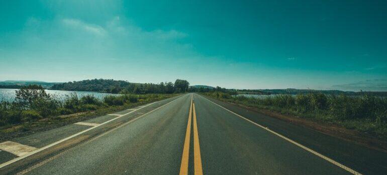 A highway near an ocean.