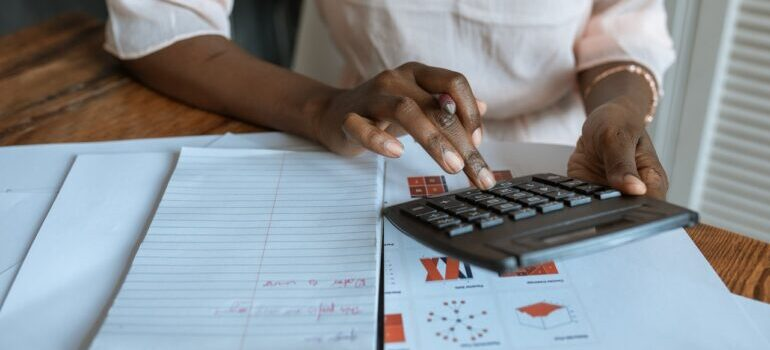 A person doing calculations
