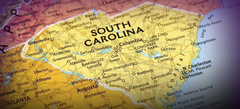 A map of South Carolina.