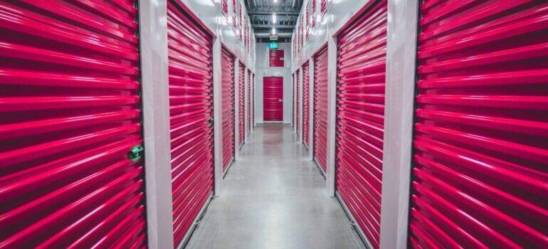Pink storage unit doors